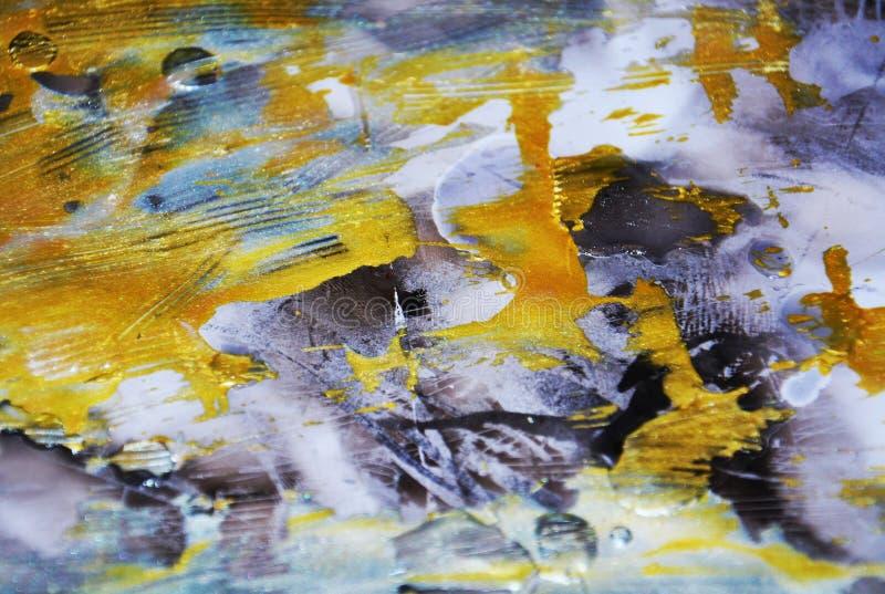 Obscuridade efervescente - ouro azul a aquarela borrada borrou as matiz coloridas dos pontos cerosos do ouro, cursos da escova, b fotos de stock
