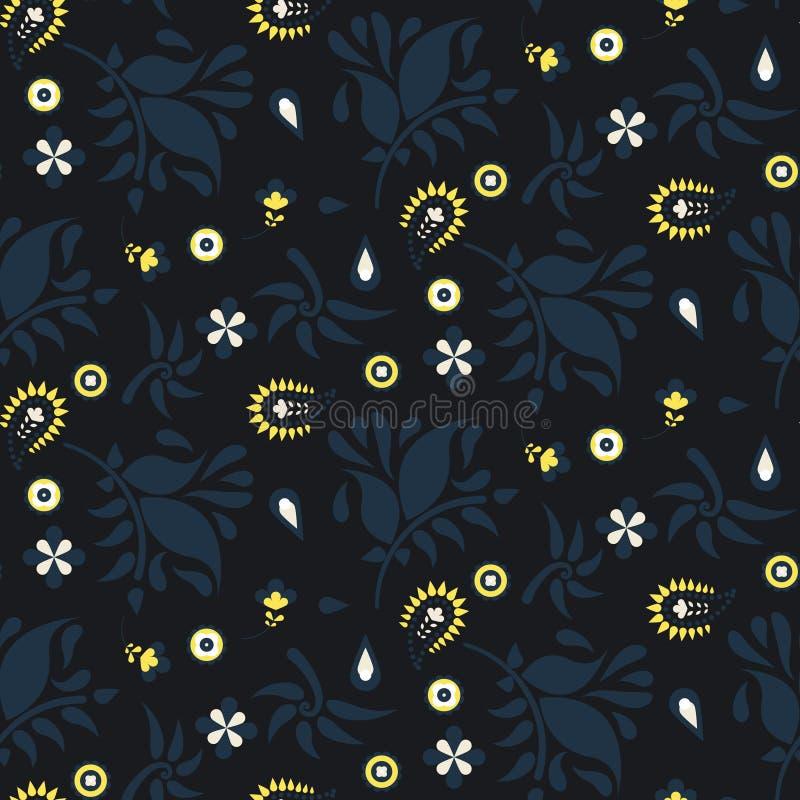 Obscuridade floral de paisley - teste padrão azul do vetor ilustração stock