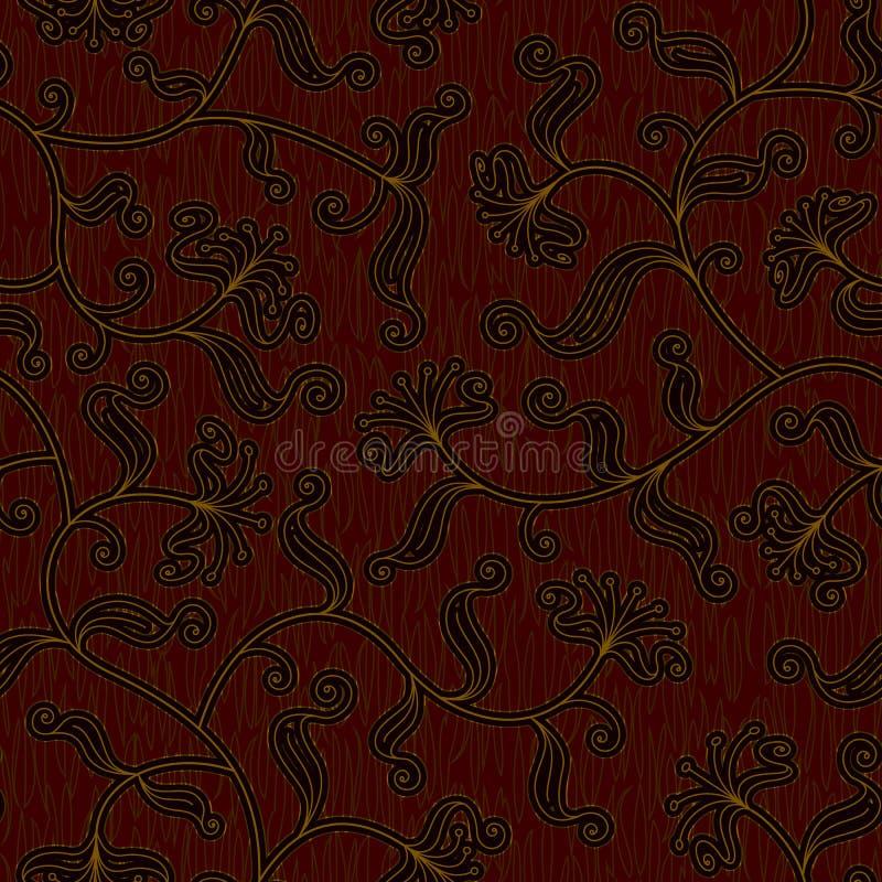 Obscuridade floral sem emenda - fundo vermelho do teste padrão do damasco ilustração royalty free