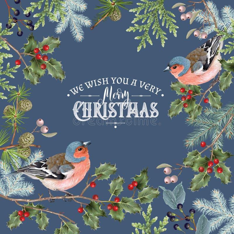Obscuridade grande do quadro do Natal do pássaro ilustração royalty free