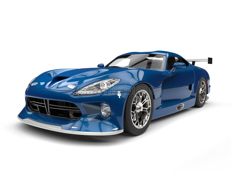 Obscuridade impressionante - supercarro azul com detalhes brancos ilustração stock