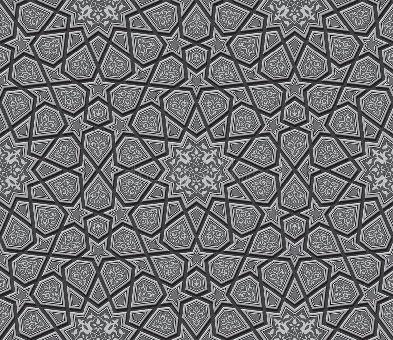 Obscuridade islâmica Grey Background do ornamento da estrela ilustração do vetor