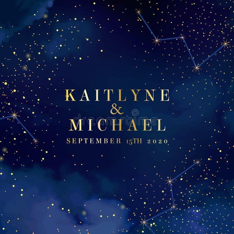 Obscuridade mágica da noite - o céu azul com efervescência stars o casamento Ca do vetor ilustração royalty free