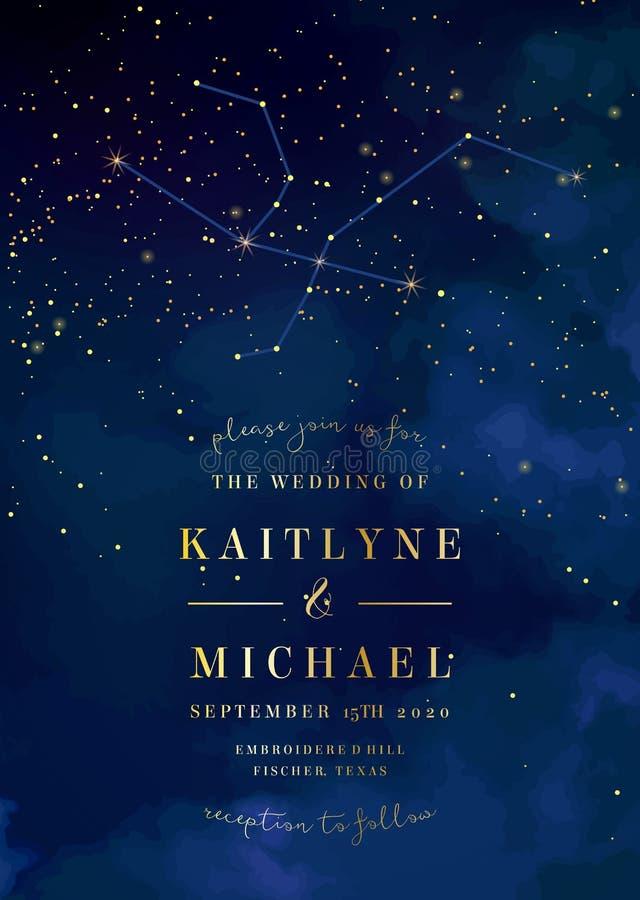 Obscuridade mágica da noite - o céu azul com efervescência stars o casamento do vetor dentro ilustração do vetor
