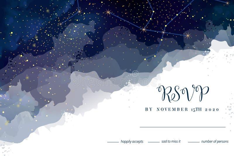 Obscuridade mágica da noite - o céu azul com efervescência stars rs do casamento do vetor ilustração royalty free