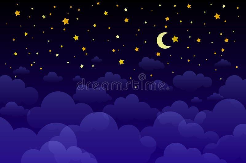 Obscuridade m?gica da noite - o c?u azul com efervesc?ncia stars o convite do casamento do vetor Andromeda Galaxy Fundo do respin ilustração royalty free
