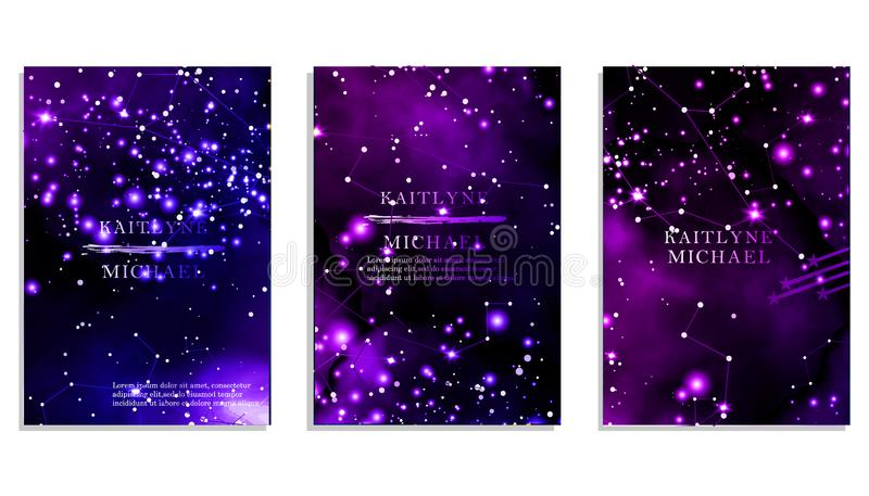 Obscuridade m?gica da noite - o c?u azul com efervesc?ncia stars o convite do casamento do vetor Andromeda Galaxy Respingo do p?  ilustração do vetor