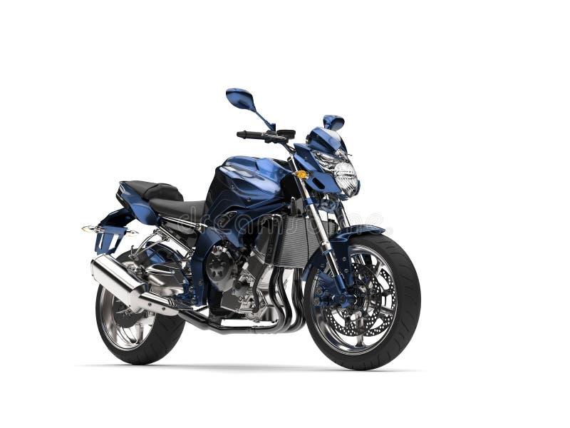 Obscuridade metálica impressionante - motocicleta moderna azul ilustração royalty free