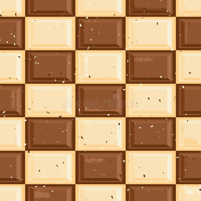 Obscuridade sem emenda e fundo branco do teste padrão da textura dos verificadores da tabuleta do chocolate ilustração stock