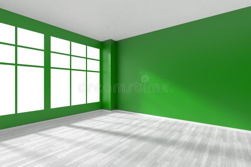 Obscuridade vazia - canto verde da sala com assoalho e a janela brancos ilustração royalty free