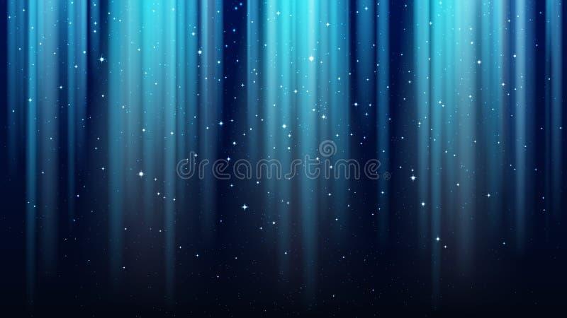 Obscuridade vazia - fundo azul com raios de luz, sparkles, céu de brilho da estrela da noite ilustração stock