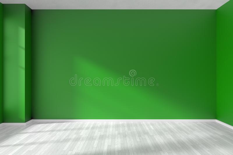 Obscuridade vazia - parede verde da sala e assoalho branco ilustração stock