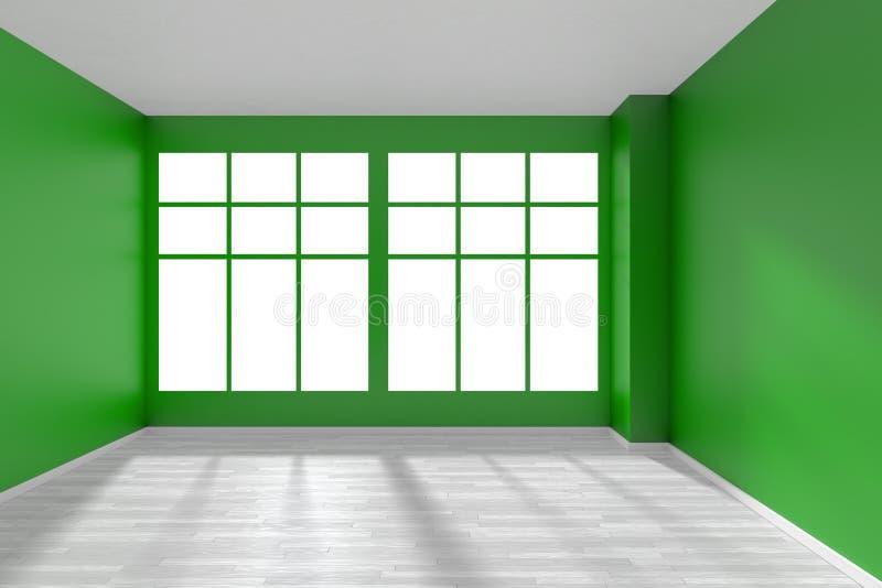 Obscuridade vazia - sala verde com assoalho e a janela brancos ilustração royalty free
