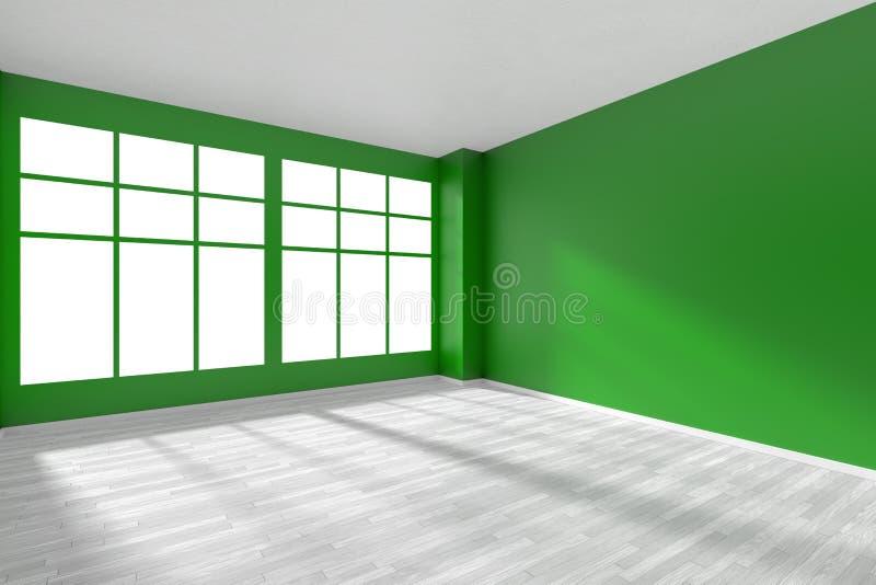 Obscuridade vazia - sala verde com assoalho e a janela brancos ilustração stock
