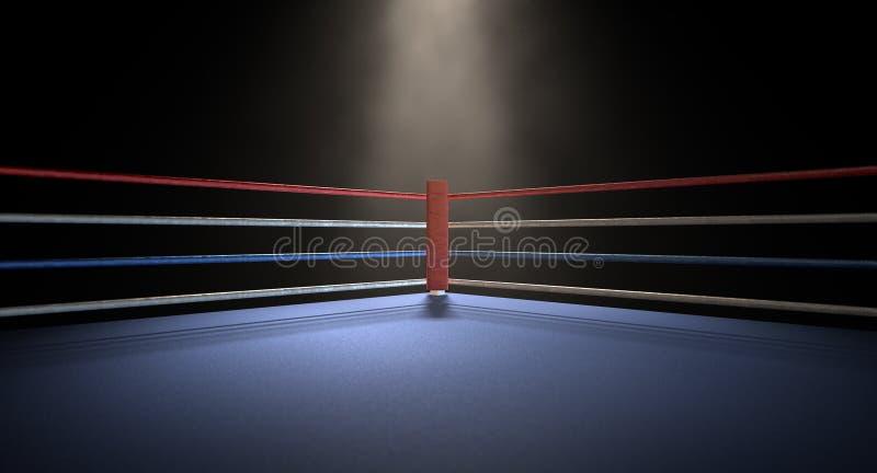 Obscurité éclairée par des projecteurs faisante le coin de boxe illustration de vecteur
