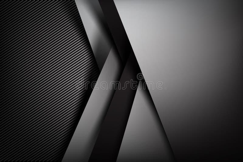 Obscurité abstraite de fond avec l'illust de vecteur de texture de fibre de carbone illustration de vecteur