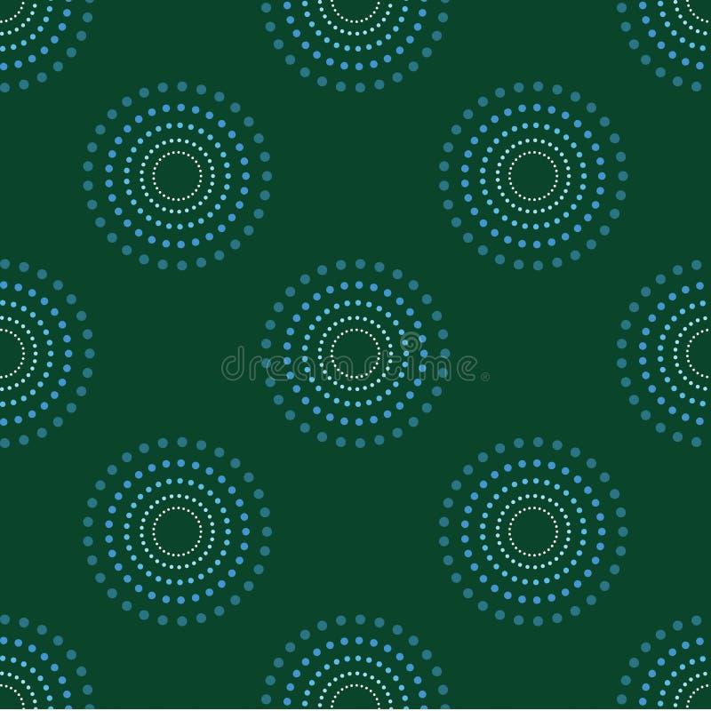 Obscurité sans couture 1 de Dots Green Background Abstract Pattern de cercle illustration libre de droits
