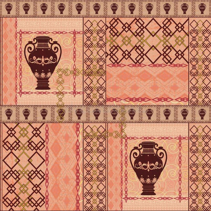 Obscurité sans couture ethnique de modèle de vintage de patchwork sur le fond beige illustration stock