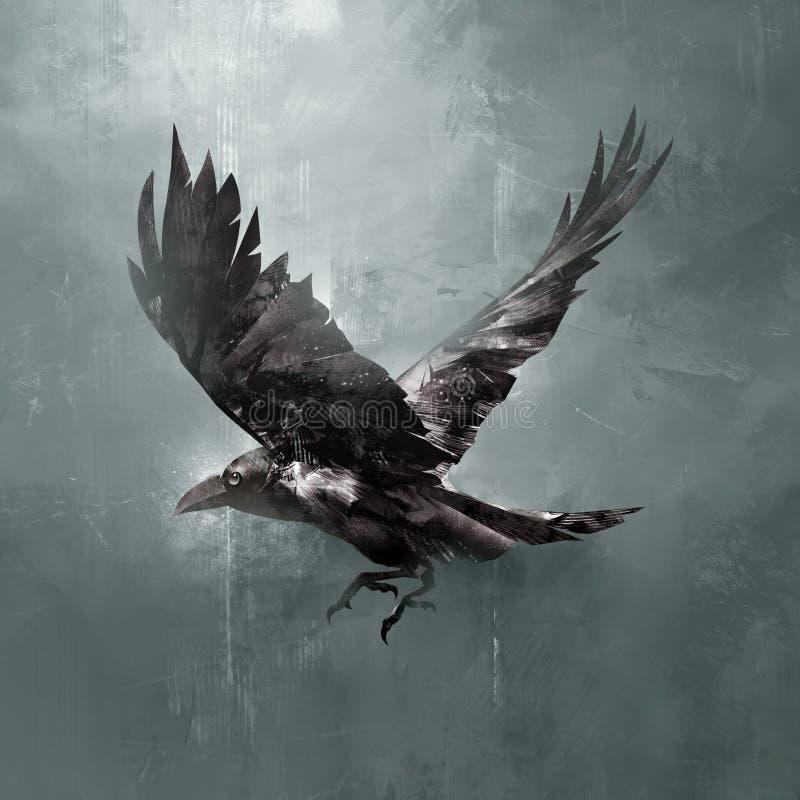 Obscurité tirée de corneille de vol illustration stock