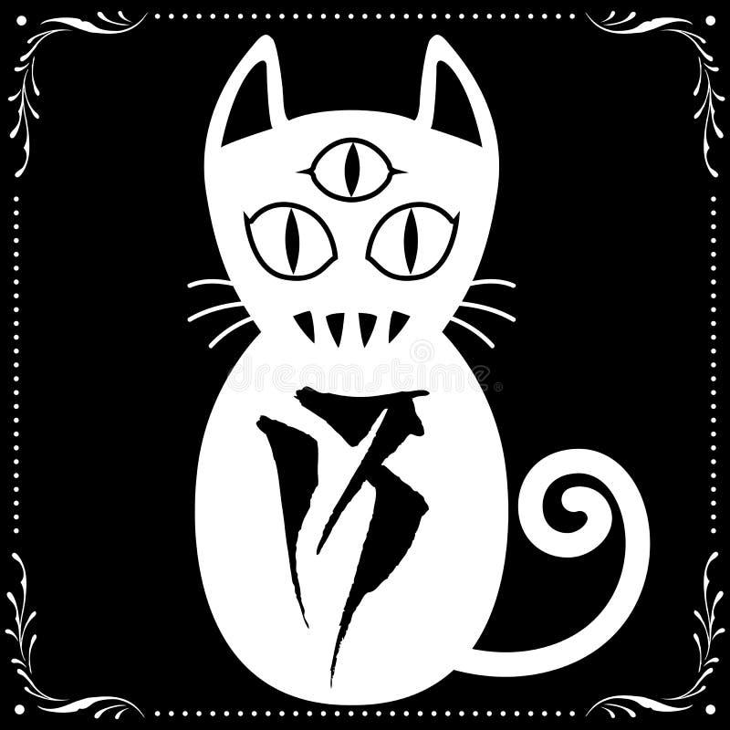 3 a observé le chat blanc N0 13 avec le vecteur floral d'ornement de cadre illustration libre de droits