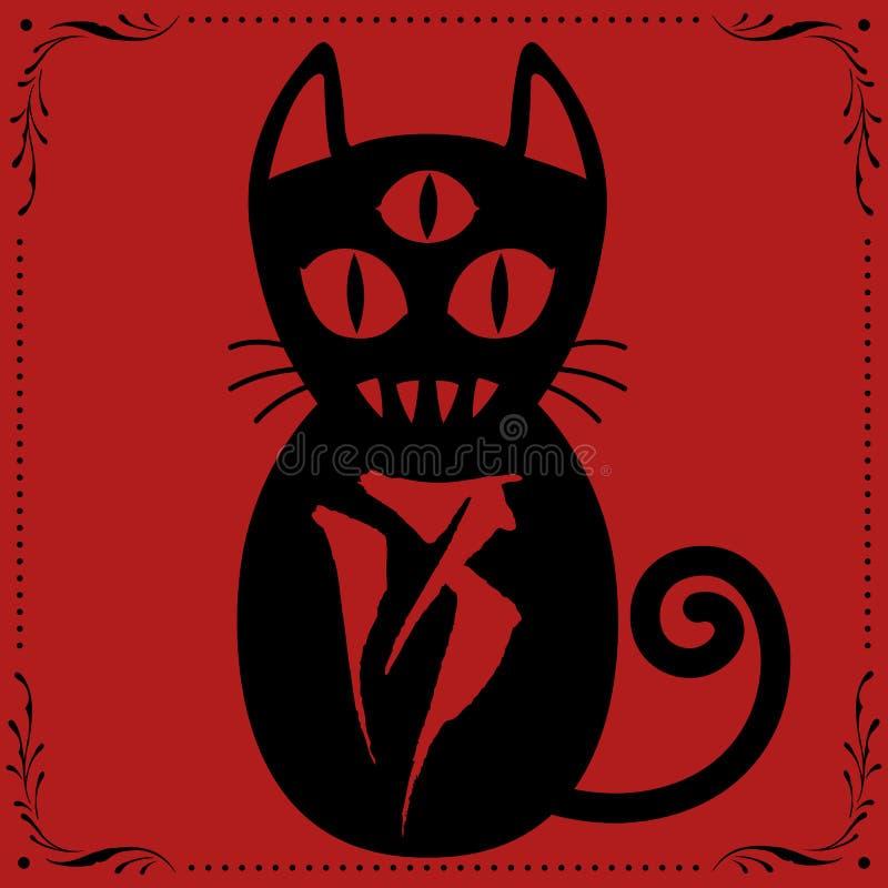 3 a observé le chat noir N0 13 avec le vecteur floral d'ornement de cadre illustration de vecteur