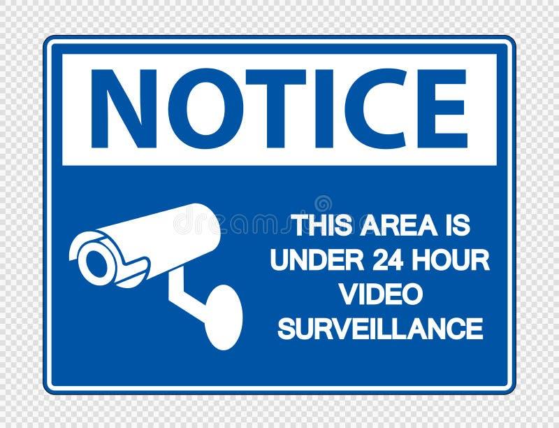 a observação do símbolo esta área está sob 24 sinais video da fiscalização da hora no fundo transparente ilustração do vetor