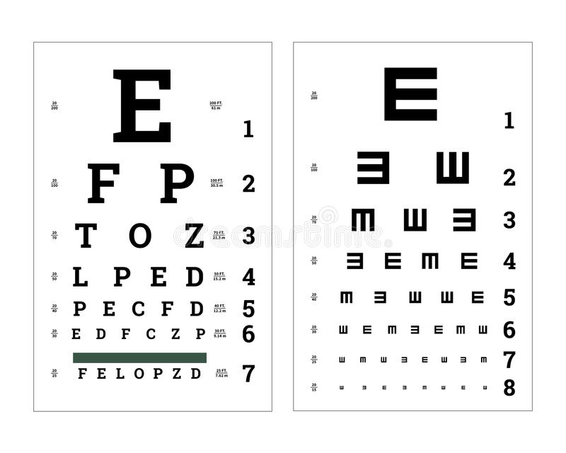 Observa cartas de prueba con las letras latinas Carteles médicos en blanco ilustración del vector