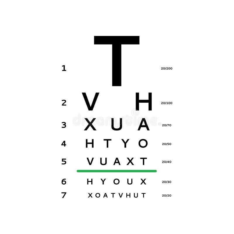 observa la carta de prueba ilustración del vector