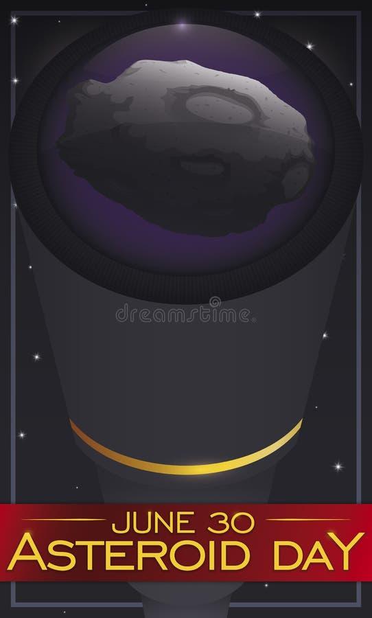 Observación asteroide en un telescopio durante el acontecimiento asteroide del día, ejemplo del vector libre illustration