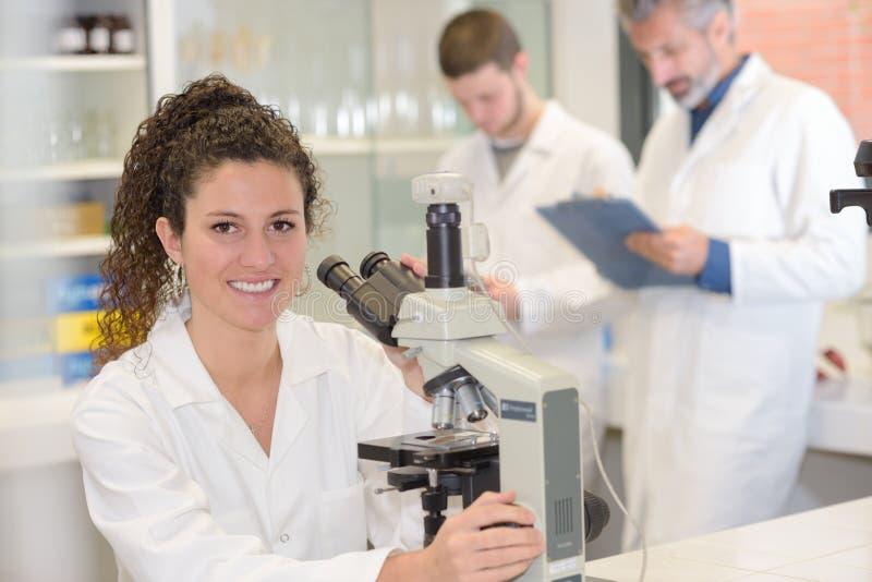 Observación de bacterias debajo del microscopio imagenes de archivo
