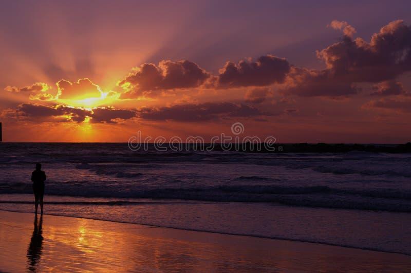 Observación de la puesta del sol imagen de archivo libre de regalías