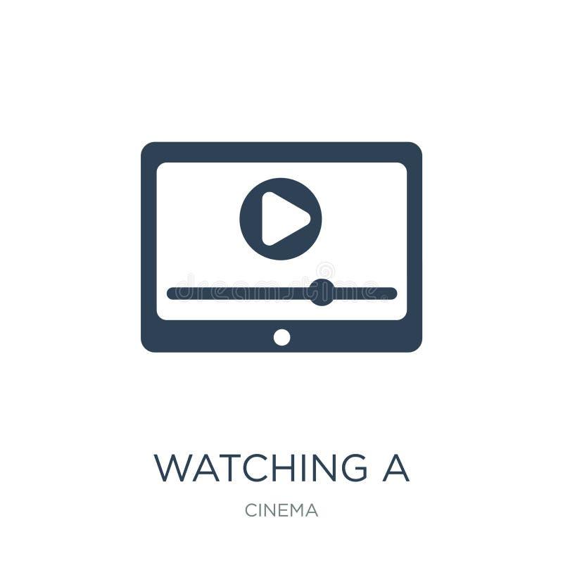 observación de un vídeo en un icono de la tableta en estilo de moda del diseño mirando un vídeo en un icono de la tableta aislado libre illustration