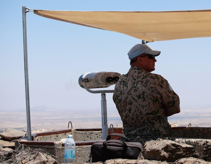 Observador de la O.N.U del UNDOF en el soporte Bental, Israel fotos de archivo libres de regalías