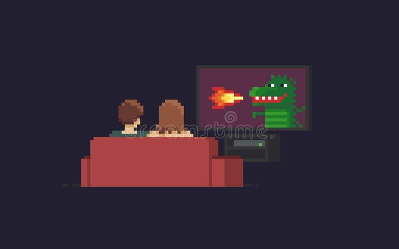 Observadores da tevê da arte do pixel ilustração stock