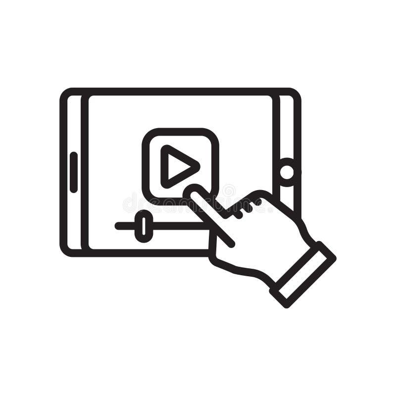 Observant une vidéo sur un vecteur d'icône de comprimé signer et symbole d'isolement sur le fond blanc, observant une vidéo sur u illustration libre de droits