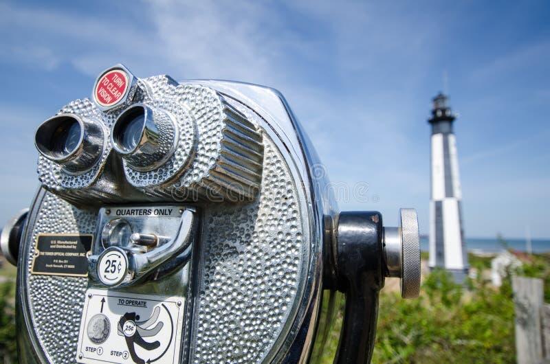 Observatiebeeldzoeker die Kaap Henry Lightouse bekijken royalty-vrije stock foto's