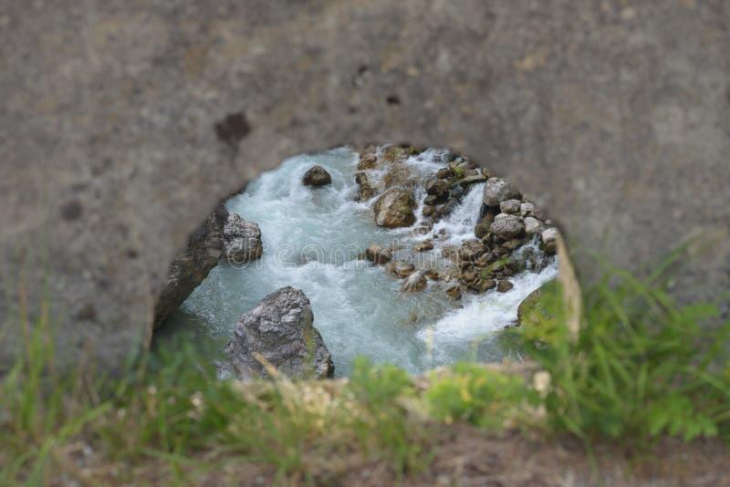 Observation av flödet av floden royaltyfria foton