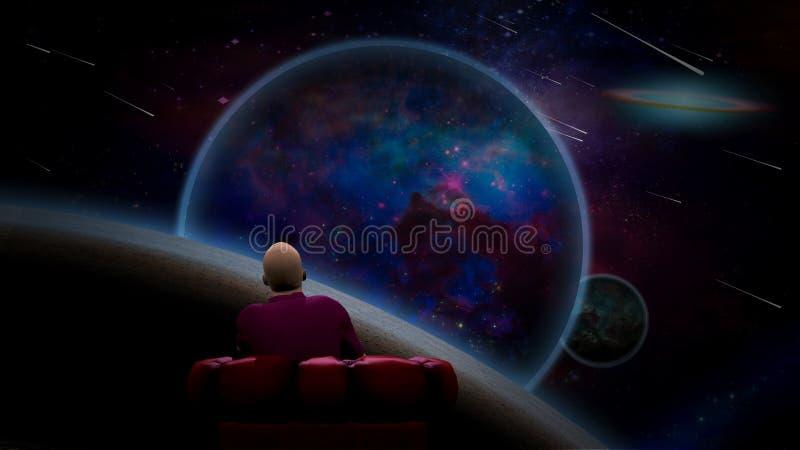 Observation av universum royaltyfri illustrationer