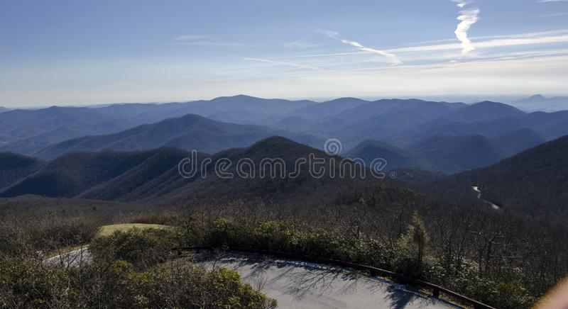 Overlook view of North Georgia Mountains from Brasstown Bald stock image