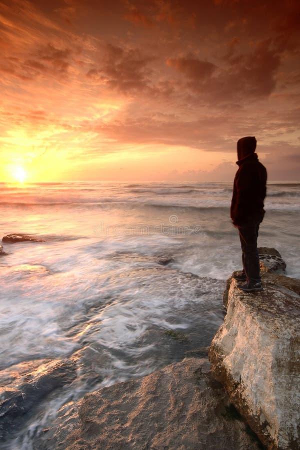 observation de coucher du soleil image stock