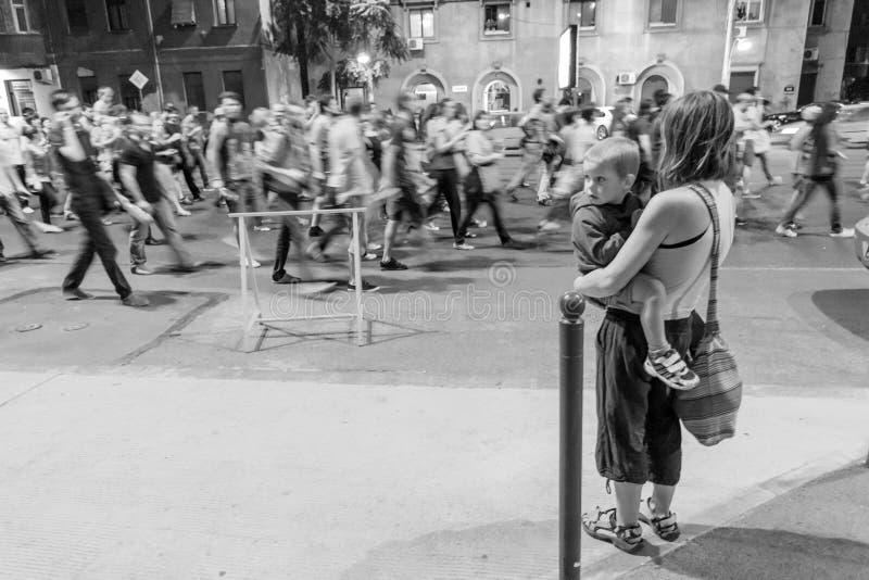 Observation de la protestation image libre de droits
