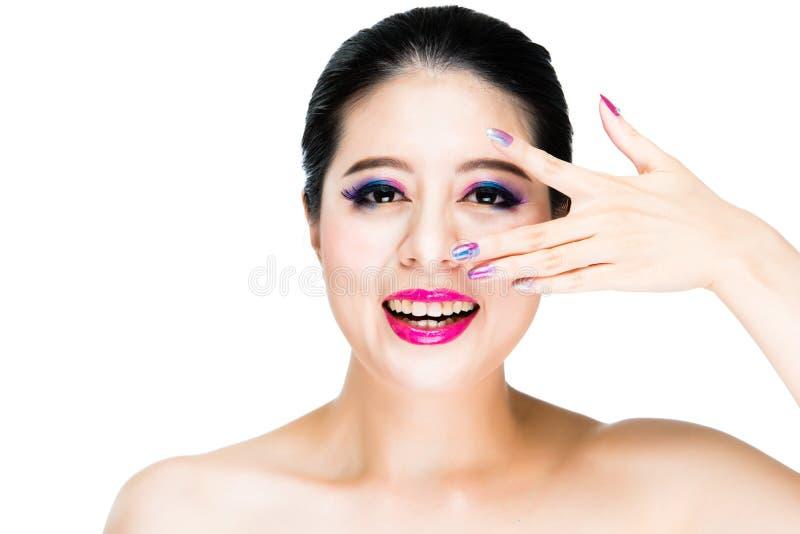 Observation de sourire de dame parfaite de peau photos libres de droits