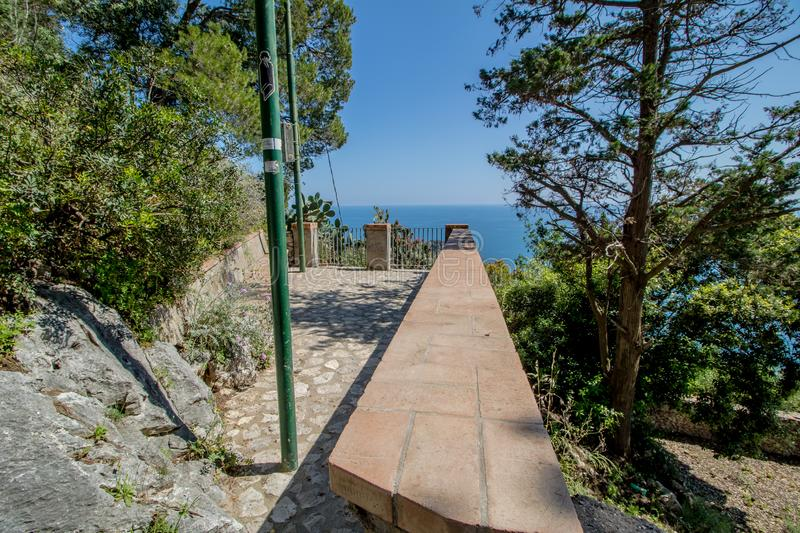 The observation deck Belvedere Tuoro in Capri, Italy stock photography