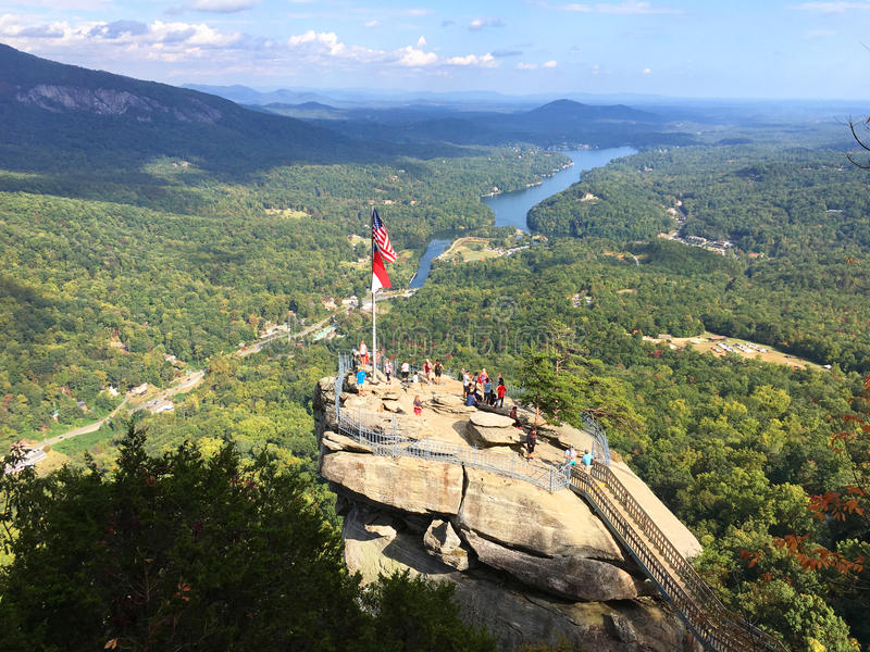 Observation deck at Chimney Rock State Park, North Carolina royalty free stock photography