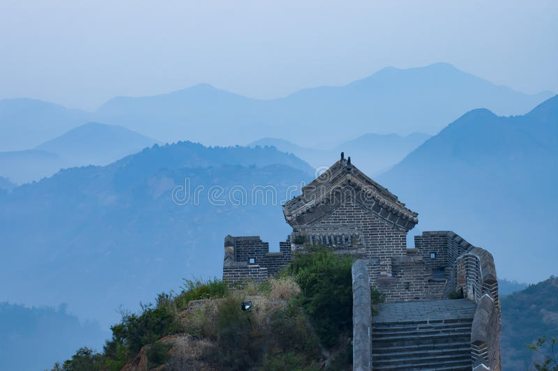 An Observation deck of The Great Wall, at Jinshanling, Hebei, China. stock photography