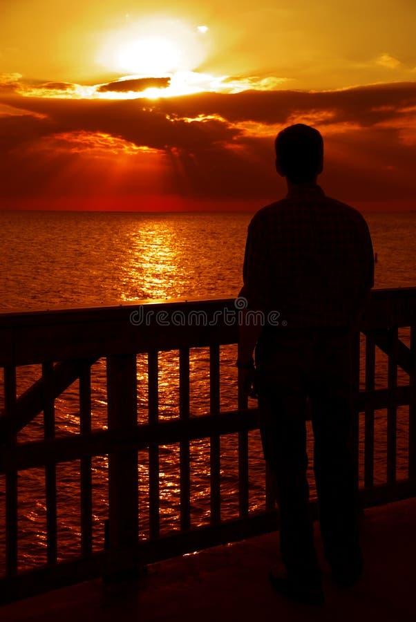 Observation du coucher du soleil, Golfe du Mexique photo libre de droits