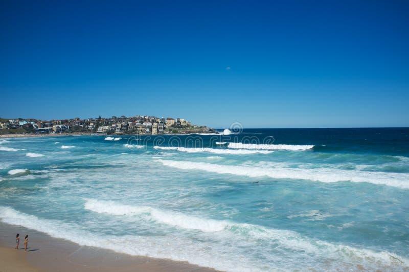 Observation du ressac, plage de Bondi, Sydney, Australie image stock