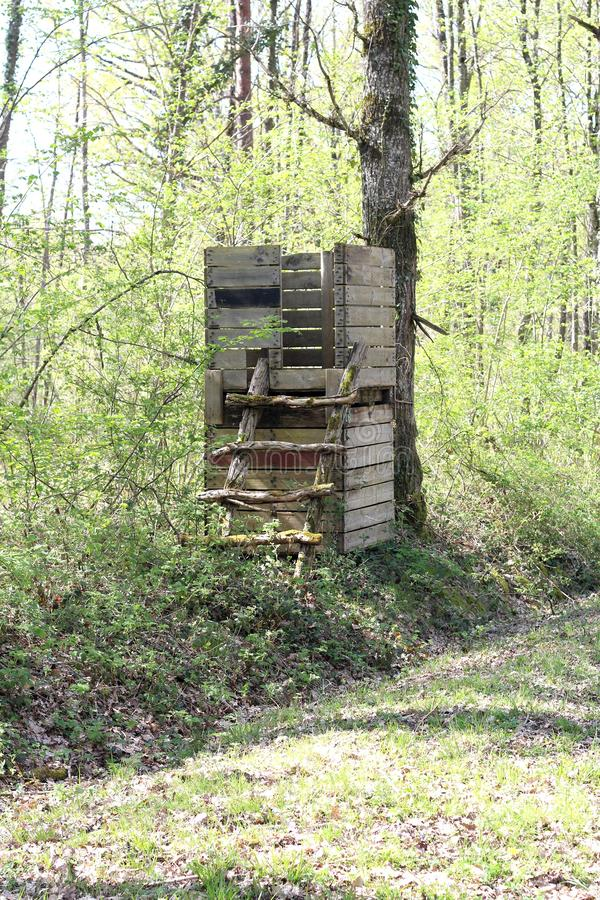Observation post. An observation post in the forestShelter box in which a sentinel, a guard, takes cover stock image