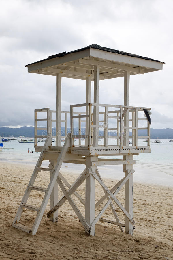 Observation tower on beach in Boracay island, Philippines stock photo
