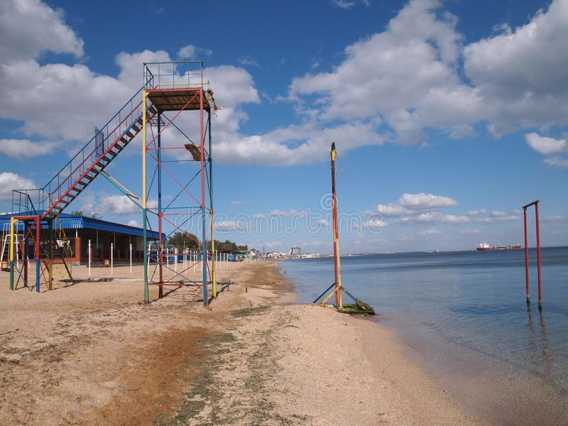 Observation tower on the beach stock images